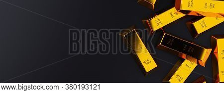 Shiny Gold Ingots Or Bars On Dark Black Background With Copy Space Top View Flat Lay From Above - Pr