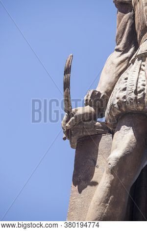 Valladolid, Spain - July 18th, 2020: Quill Of Miguel De Cervantes Writer At Monument, Made Nicolas F