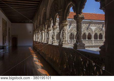 Valladolid, Spain - July 19th, 2020: Colegio De San Gregorio Courtyard. Isabelline Style Building. U