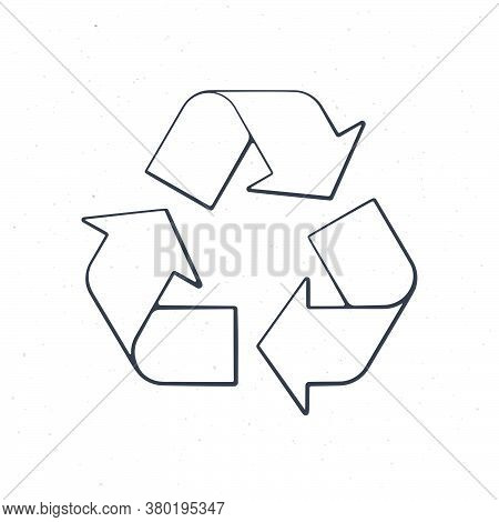Recycling Symbol. Outline. Vector Illustration. Worldwide Attention Sign To Environmental Issues. Tr