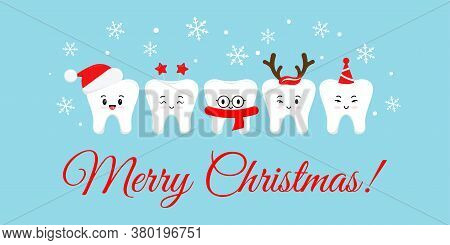 Cute Smile Teeth With Xmas Accessories On Merry Christmas Dentist Greeting Card. White Happy Winter
