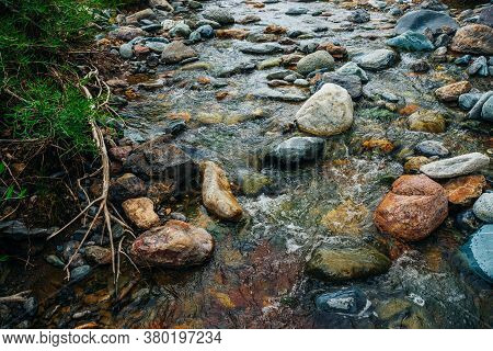 Scenic Landscape With Awesome Motley Small River. Picturesque View To Beautiful Mountain Creek With