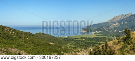 Summer Morning Adriatic Coastline View From Above (picturesque Buljarica Beach Between Budva And Bar