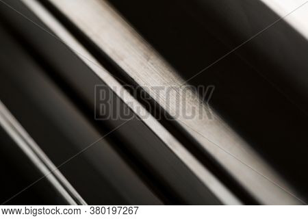 Abstract Stack Of Aluminium Profiles Close Up, Industrial Background Macro, Selective Focus