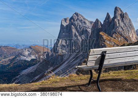 Picturesque Autumn Alps Mountain Scene, Famous Italian Dolomites Seceda Majestic Rock, Sass Rigais,