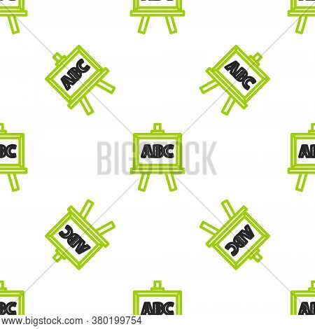 Line Chalkboard Icon Isolated Seamless Pattern On White Background. School Blackboard Sign. Vector I