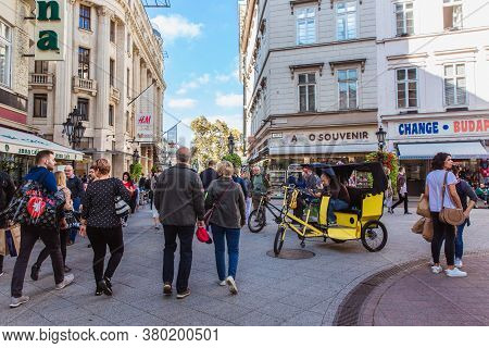 Budapest, Hungary. October 2019: Tourists And Visitors On The Famous Vaci Street, The Main Shopping