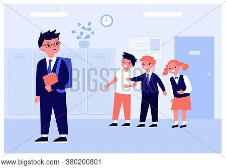 Kids Laughing On Crying Boy In School Corridor Isolated Flat Vector Illustration. Children Scaring S