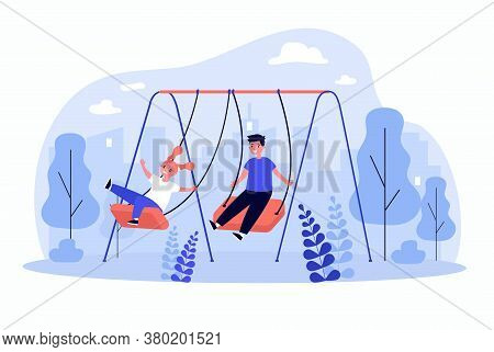 Cute Kids Swinging, Enjoying And Laughing Isolated Flat Vector Illustration. Cartoon Happy Friends W