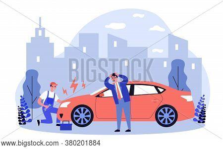 Car Mechanic Repairing Broken Car On Road. Motor Professional Helping Panicking Vehicle Driver Flat