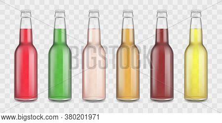 Realistic 3d Detailed Assorted Soda Bottles Set On A Transparent Background. Vector Illustration Of