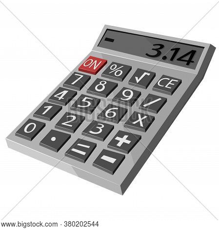Calculator Icon. A Beautiful New Mathematical Tool For Calculating Serego Color In Flat Style.