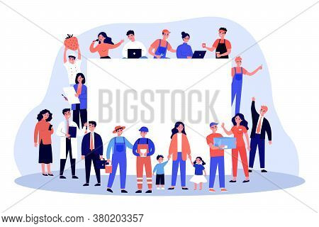 People Of Different Occupations Around Blank Banner. Businessman, Housewife, Worker, Doctor Flat Vec