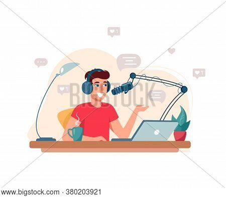 Concept Of Creating Podcast, Blogging. The Man Interviews, Conducts A Webinar, Online Courses. Flat