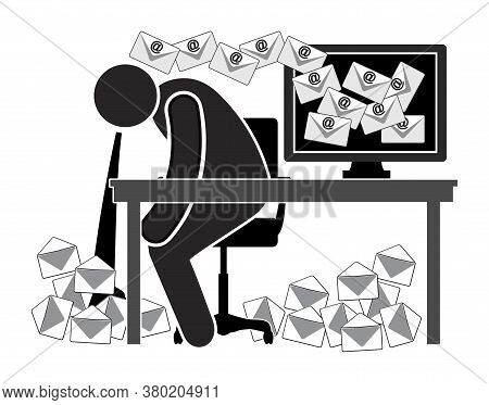 Your Emails Make You Sick. Caricature Of Sick Office Worker: Health Hazard For Those Who Must Deal W