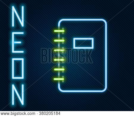 Glowing Neon Line Notebook Icon Isolated On Black Background. Spiral Notepad Icon. School Notebook.