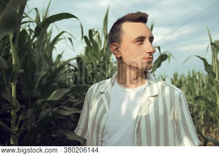 A Fashionable Guy Is Walking In A Cornfield. Sunny Day Outside The City. Man On The Background Of Le