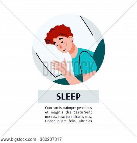 Card Or Banner Template With Sleeping Man Cartoon Character And Sleep Inscription, Flat Vector Illus