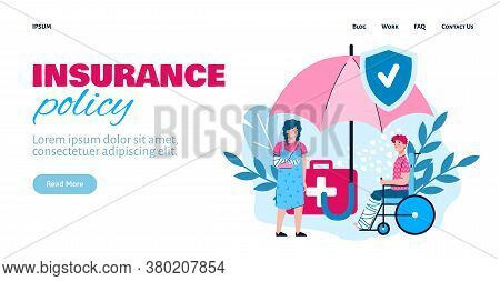 Insurance Policy Website Banner Template With Injured People, , Flat Vector Illustration On White Ba