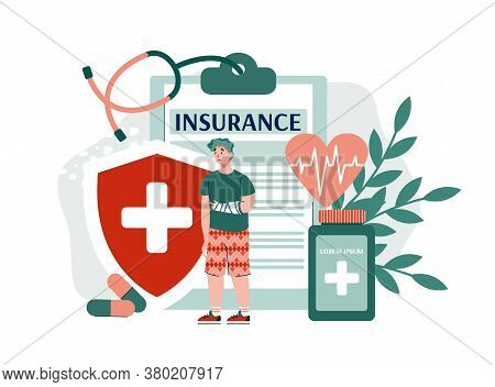 Concept Of Life And Health Insurance. Financial Compensation In Case Of Injury Or Accident. Healthca