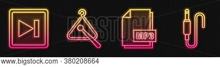 Set Line Mp3 File Document, Fast Forward, Triangle Musical Instrument And Audio Jack. Glowing Neon I