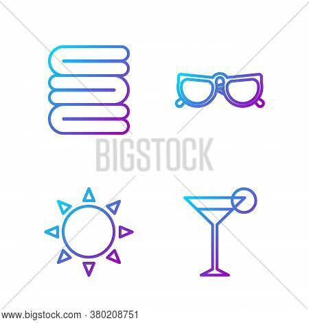 Set Line Martini Glass, Sun, Towel Stack And Glasses. Gradient Color Icons. Vector