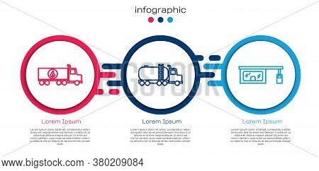 Set Line Tanker Truck, Tanker Truck And Gas Filling Station. Business Infographic Template. Vector