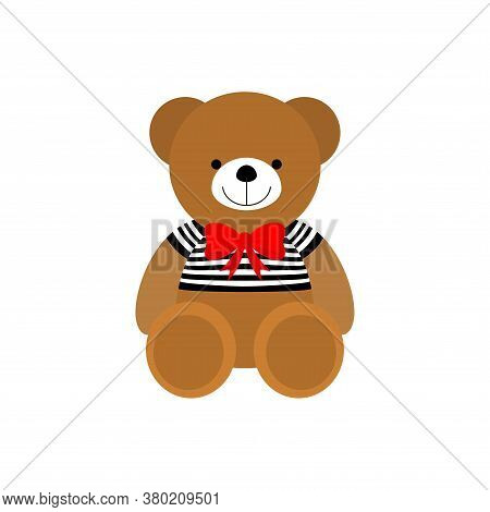 Little Teddy Bear Character Isolated On White Background. Vector Illustration. Eps10