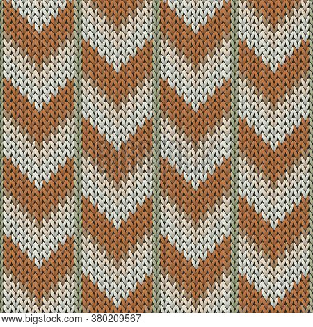 Fashionable Downward Arrow Lines Knitted Texture Geometric Seamless Pattern. Ugly Sweater Knitting P