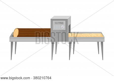 Paper Production With Lumber Cutting And Crushing Into Wood Dust Vector Illustration