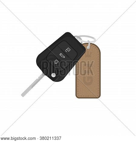 Modern Key For Car With Leather Trinket With Text And Leather Texture. Alarm Remote Control. Auto Lo
