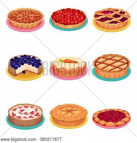 Sweet Homemade Pies With Filling And Crusts Made Of Shortcrust Pastry Vector Set