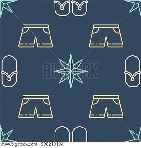 Set Line Flip Flops, Swimming Trunks And Wind Rose On Seamless Pattern. Vector
