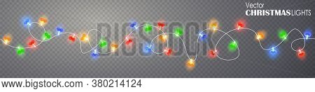 Christmas Heart Lights Seamless Border On Transparent Background. Glowing Garland For Xmas Holiday.
