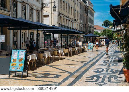 Deserted Streets In Baixa, Lisbon, Portugal During Summer 2020