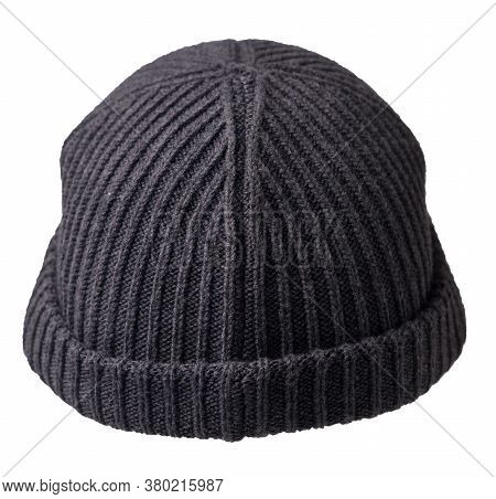 Docker Knitted Dark Gray Hat Isolated On White Background. Fashionable Rapper Hat. Hat Fisherman