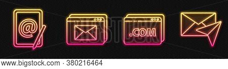 Set Line Website Template, Mail And E-mail, Website And Envelope And Envelope. Glowing Neon Icon. Ve