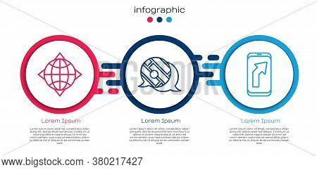 Set Line World Globe With Compass, Infographic Of City Map Navigation And City Map Navigation. Busin