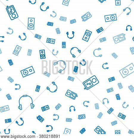 Set Line Headphones, Music Player And Stereo Speaker On Seamless Pattern. Vector