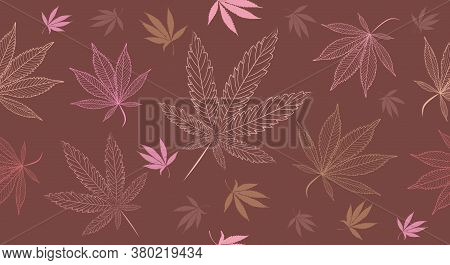 Seamless Medical Cannabis Pattern In Neutral, Earth Tones. Modern Cannabis Leaves Illustration For B