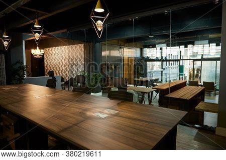 Interior Of A Boardroom In An Office After Work Hours