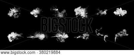 Smoke Clouds, Steam Mist Fog And White Foggy Vapor, Vape Smoke Set Isolated On Black Background