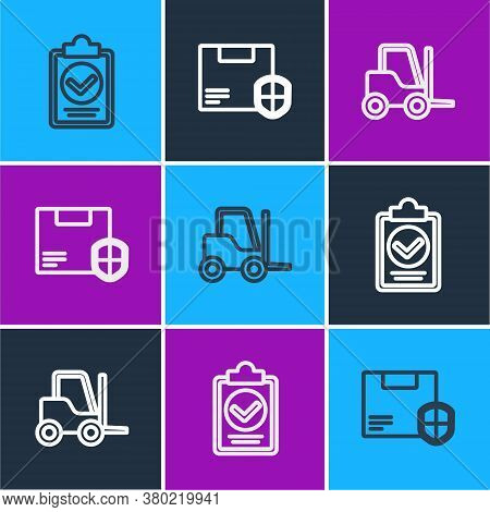 Set Line Verification Of Delivery List Clipboard, Forklift Truck And Delivery Security With Shield I