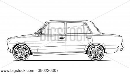 Coloring Book Page For Adult Drawing. Car Vector Illustration With Outlines, Vehicle Graphic Element