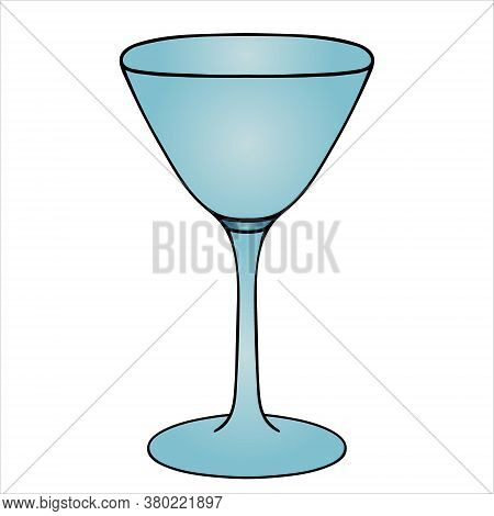 Wine Glass. Martini Glass. Empty. Vector Illustration. White Isolated Background. Cartoon Style. A G
