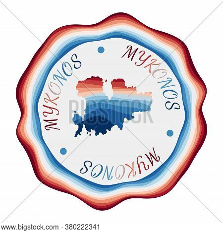 Mykonos Badge. Map Of The Island With Beautiful Geometric Waves And Vibrant Red Blue Frame. Vivid Ro