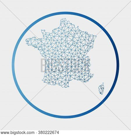 France Icon. Network Map Of The Country. Round France Sign With Gradient Ring. Technology, Internet,