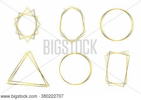 Luxury Geometrical Polyhedron, Wedding Invitation Deco Style Design. Decorative Element For Logo, Br