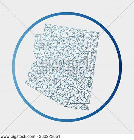 Arizona Icon. Network Map Of The Us State. Round Arizona Sign With Gradient Ring. Technology, Intern