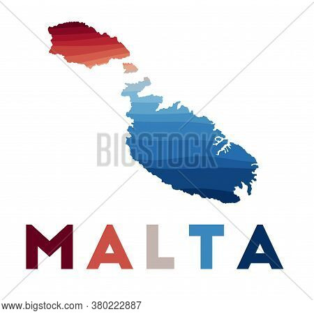 Malta Map. Map Of The Island With Beautiful Geometric Waves In Red Blue Colors. Vivid Malta Shape. V